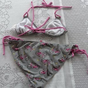 OP Swim - OP Gray Pink Bicycle Bikini Swimsuit S M 2 Piece